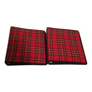Red Plaid Book Binders - A Pair
