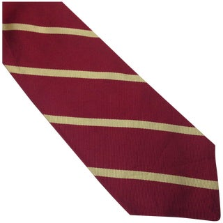 Vintage Silk Red Striped Polo Brand Tie