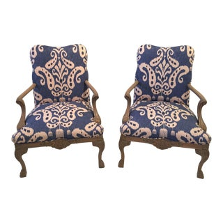 Ikat Upholstered Carved Wood Chairs - A Pair