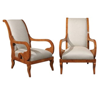 Pair of Biedermeier Mid 19th Century Austrian Armchairs with Scrolled Arms