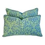 Image of Custom Fortuny Sevres & Silk Velvet Pillows - Pair