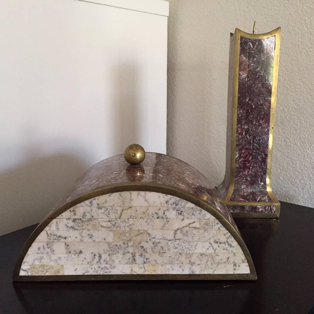 Tessellated Marble Amp Brass Box Amp Candle Holder Chairish