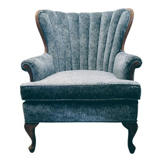 Vintage Channel Back Chair With Wood Trim
