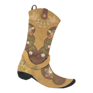 Brown Floral Boot Stocking