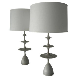 "Gray Stained ""Metro"" Table Lamps - Pair"