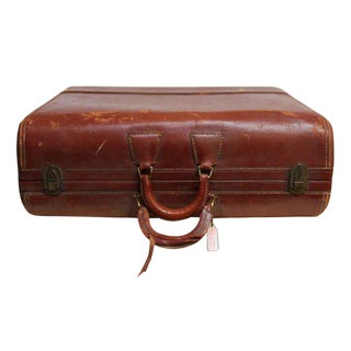 Red Leather Colonel Suitcase