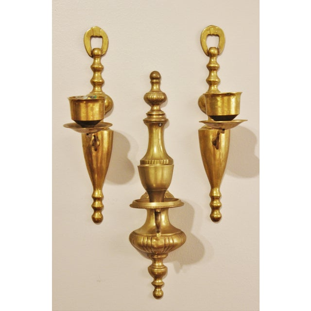 Image of Vintage Brass Wall Sconces - Set of 3
