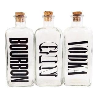 Cork Stoppered Screen Printed Liquor Bottles- Set of 3