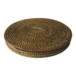 "4 Vintage 16"" Handmade Rattan Placemats"