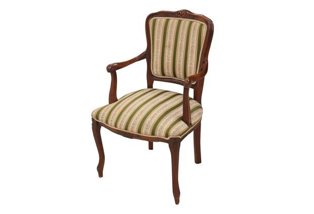 louis xv style striped fauteuil chairish