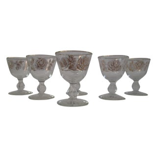 White Rose And Gold Sherry Glasses - Set of 6