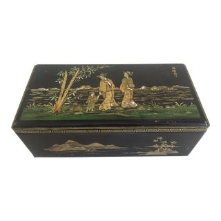 Vintage 1940's Coffret Hollandais Black Asian Style Biscuit Tin Box