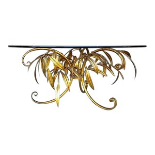 Italian Regency Brass Leaf Base Cocktail Table