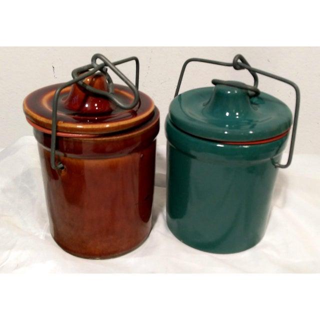 Vintage Latch Top Crock Jars- Set of 6 - Image 3 of 5