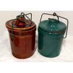 Image of Vintage Latch Top Crock Jars- Set of 6
