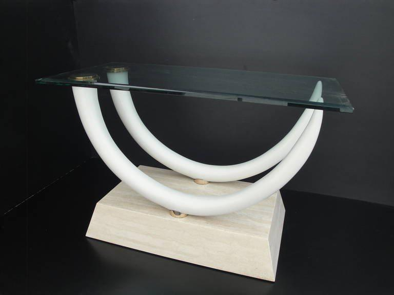world-class faux elephant tusk and travertine dining table att to