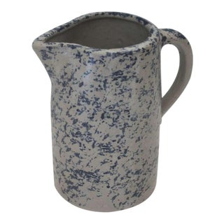 19th Century Spongeware Pottery Speckled Pitcher