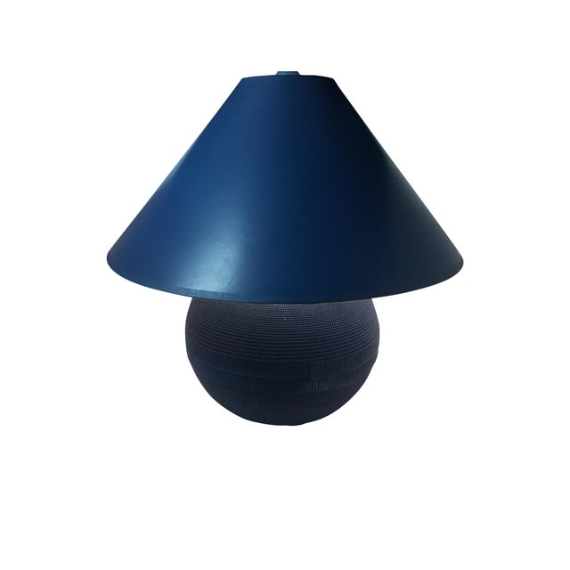 Vintage Gregory Van Pelt Blue Lamp & Shade - Image 1 of 6