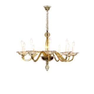 Elegant Murano Blown Amber Glass 10-light Chandelier