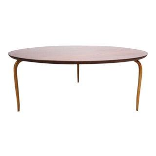 Swedish Teak and Birch Round Coffee Table by Bruno Mathsson
