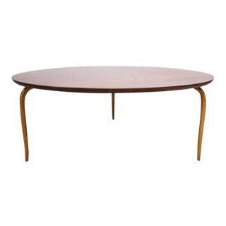 Swedish Teak and Birch Round Coffee Table by Bruno Mathsson