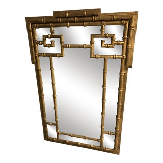 Mid-Century Labarge Faux Bamboo Greek Key Mirror