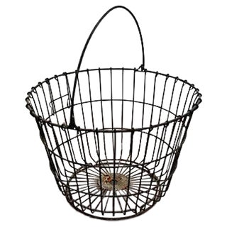 Vintage Round Wire Handle Basket