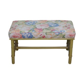 Vintage Ficks Reed Painted Rattan Bench