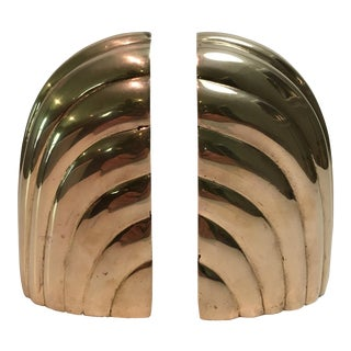 Vintage Art Deco Solid Brass Bookends - A Pair