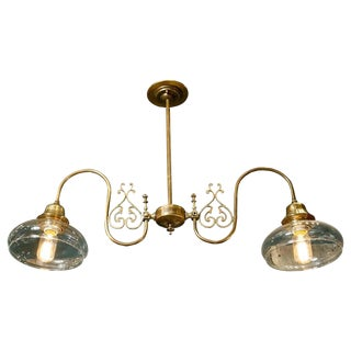 Brass and Glass Downward Facing Light from Belgium, Circa 1920
