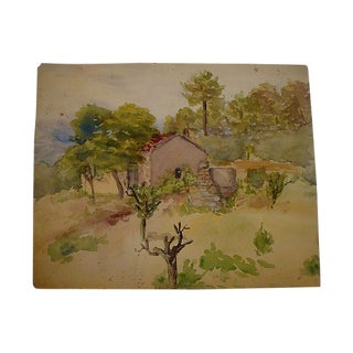 1940s Spanish Tile Roof Landscape Watercolor Painting