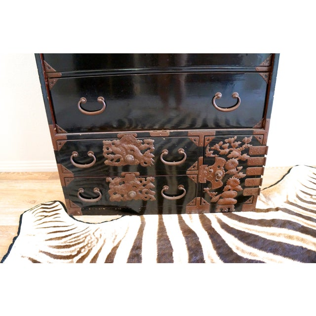 Vintage Black Lacquered Tansu Chest - Image 9 of 10