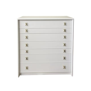 Paul Frankl White Lacquered Wood and Polished Brass High Dresser