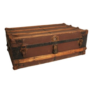 Vintage Low Wood Steamer Trunk