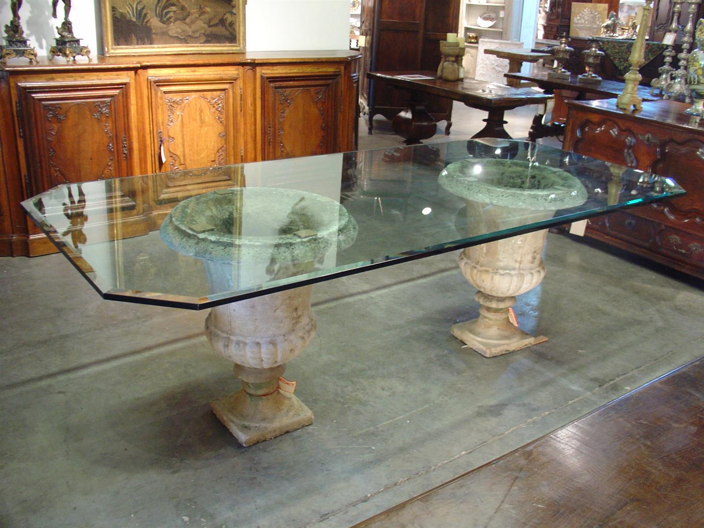 Beveled Glass Table Top On Antique French Stone Urns   Image 2 Of 8