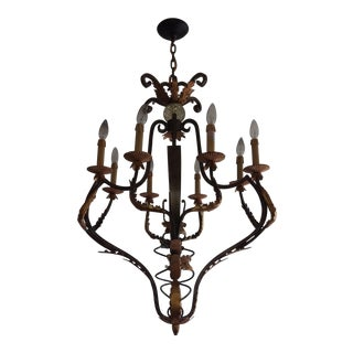 Gilt Iron Eight Light Chandelier