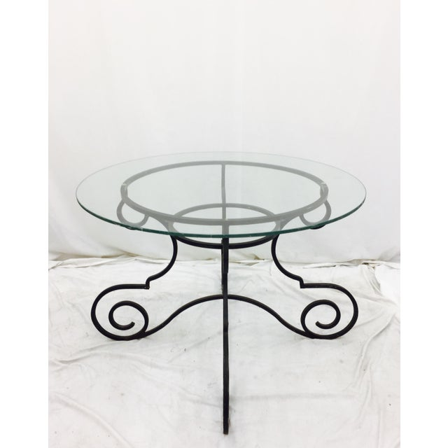 Vintage Wrought Iron & Glass Top Table - Image 2 of 6