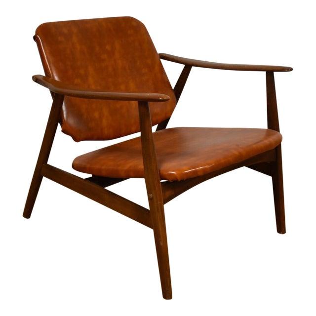 Brown Vinyl Lounge Chair - Image 1 of 9