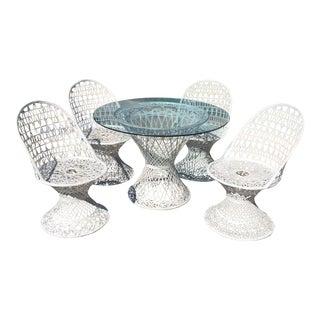 Mid Century Russell Woodard Spun Fiberglass White Outdoor Dining Set