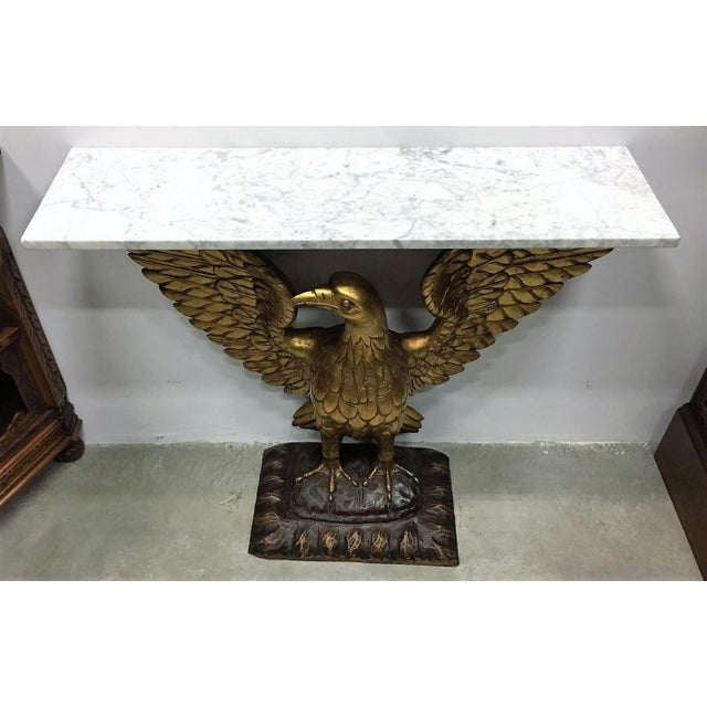 20th Century French Regency Eagle Console Pier Table with White Marble - Image 5 of 8