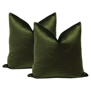 Olive Italian Silk Velvet Pillows - A Pair