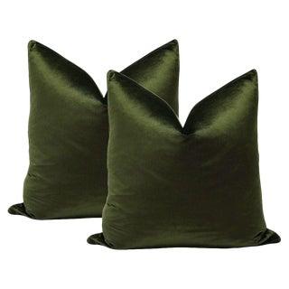 Olive Italian Silk Velvet Pillows - A Pair