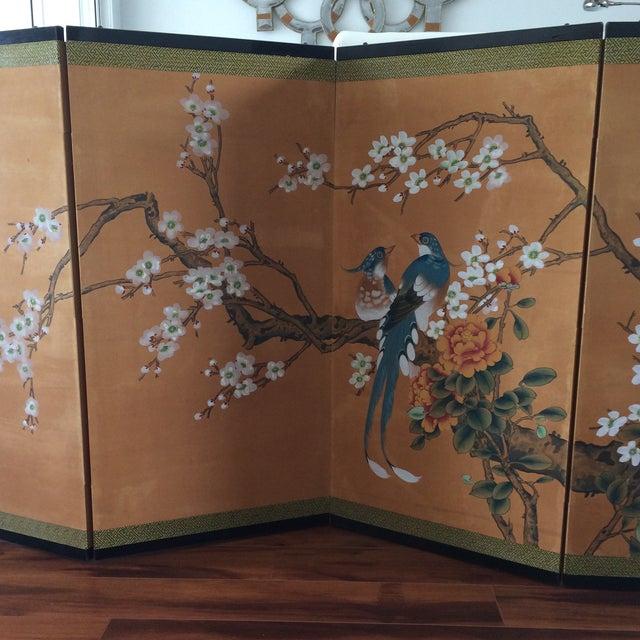 Vintage Four Panel Silk Screen Fancy Birds - Image 7 of 7