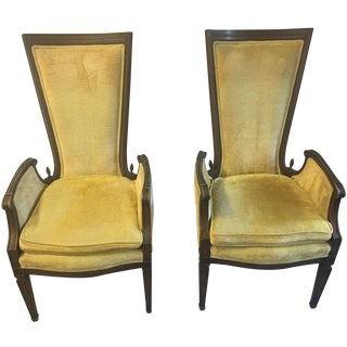 Funky Mid-Century High-Back Chairs - A Pair