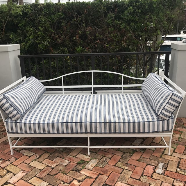 Cast Iron Sunbrella Upholstered Outdoor Daybed - Image 4 of 7