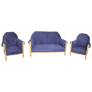 Elegant French Art Deco By Paul Follot Settee & Chairs - Set of 3 Circa 1920s.