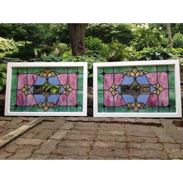 Image of Antique Stained Glass Windows - Pair