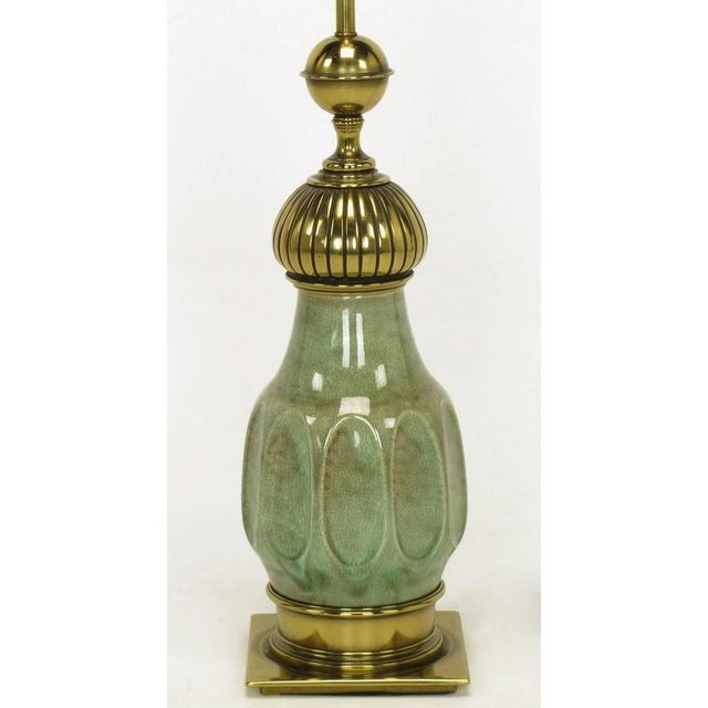 Pair of Stiffel Sea Foam Green Crackle Glaze and Brass Moorish Style Table Lamps - Image 5 of 7