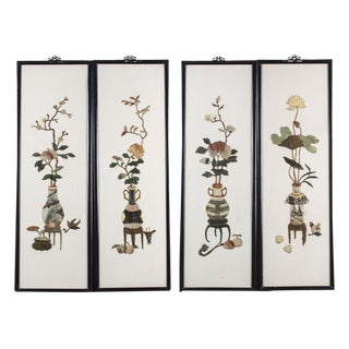 Vintage Chinese Hard Stone Wall Sculpture Panels - Set (4)