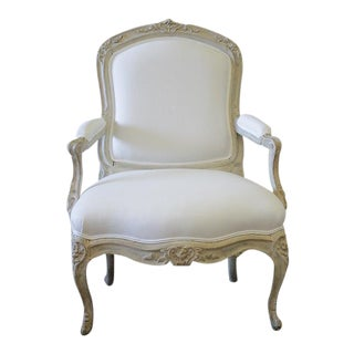 Antique Louis XV Style Painted & Belgian Linen Upholstered Fauteuil